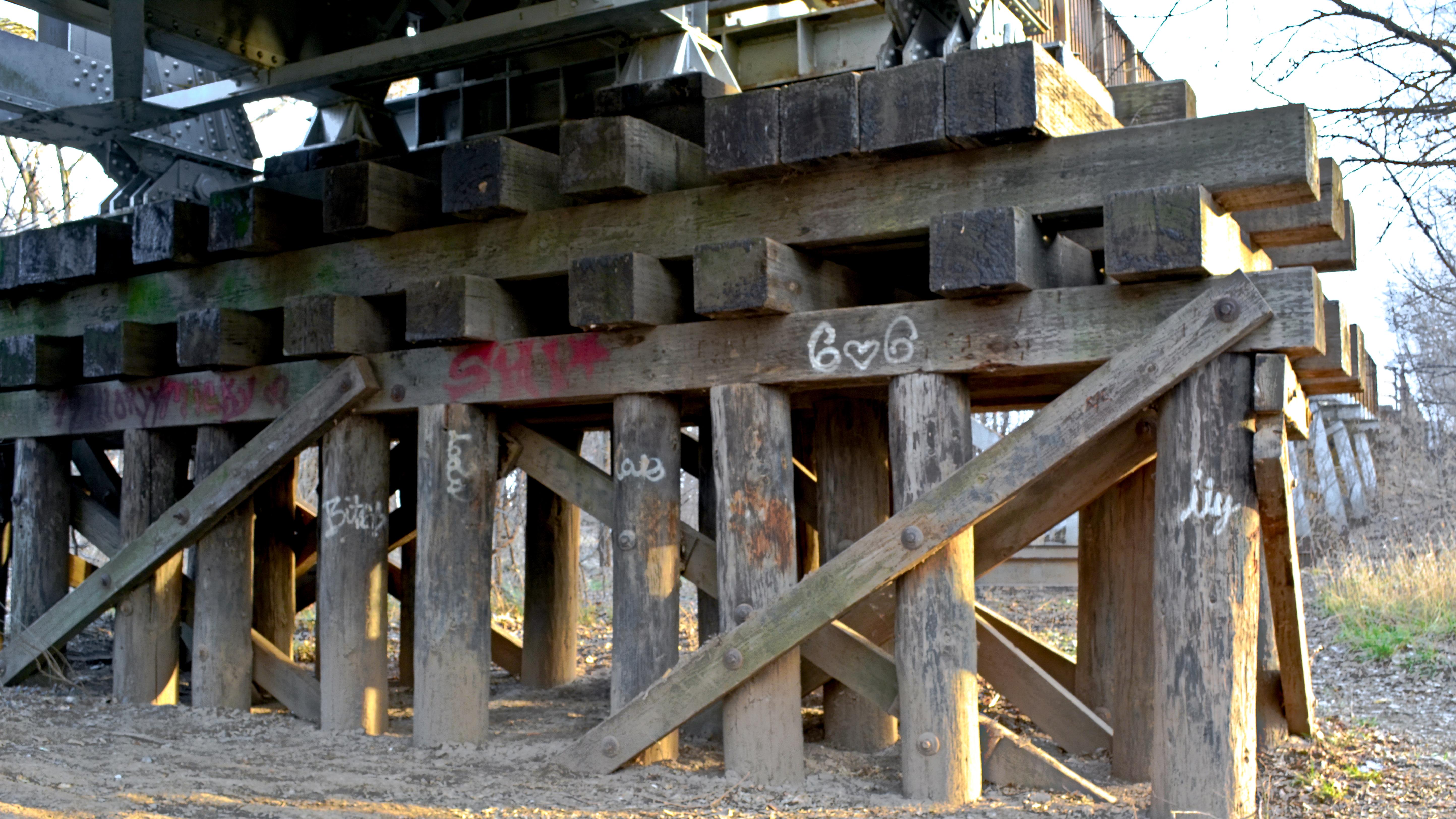 bridge pilings sun kissed